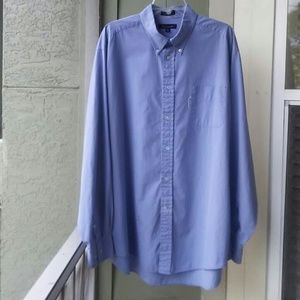 FACONNABLE Blue Checkered Button Front Shirt 18/XL